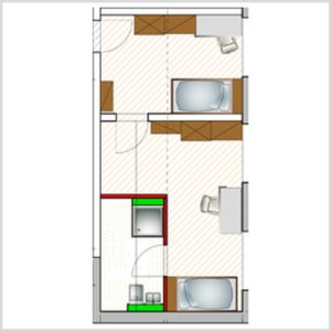 ground plan double apartment for disabled people