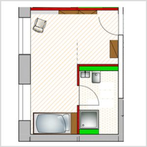 ground plan single apartment for disabled people